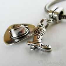 Cowboy Hat And Cowboy Boot European Charm Bead For Large Hole Charm Bracelets
