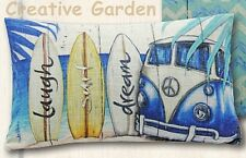 Kombi VW SURF DREAM LAUGH Beach Cushion Pillow Bed Lounge Sofa Lisa Pollock