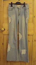 Light Wash Floral Lace Patch Bootcut Jeans Size 8-10