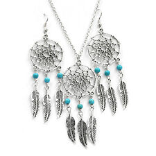 3 Pcs Jewelry Chain Leaves Pendant Earrings & Necklace Crystal Choker Chunky Bib