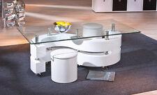 Couchtisch Wohnzimmertisch Tisch mit Hocker weiss hochglanz Woody 148-00361