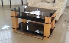 SaskiaSoPo / TV Tisch Beistelltisch Phonotisch Kernbuche Massiv Schw. Glas