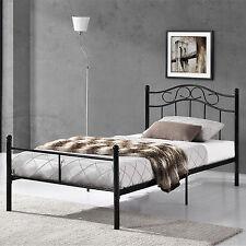 [en.casa]® Metallbett 120x200 Schwarz Bettgestell Bett Schlafzimmer Jugendbett