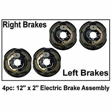 """4pc Electric Trailer Brake 12"""" x 2"""" Assembly Right & Left SIde 6000 7000 Axle"""