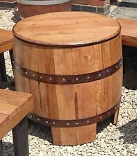 """Recycled Solid Oak Whisky Barrel """"DUNDEE"""" Garden Table"""