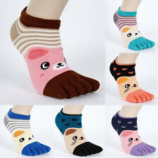 New 5 Pairs Women's Cartoon Toe Socks Breathable Socks Lovely Five Finger Socks
