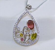 GENUINE! 0.59cts! Fancy Tourmaline Solid Sterling Silver 925 Pendant!!
