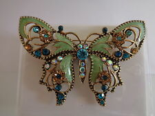 Green enamel & diamante flower butterfly brooch