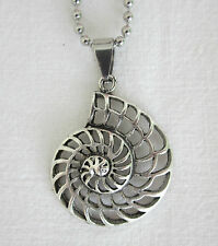 Silver Style Pierced Filigree Ammonite Pendant Necklace - Fossil Golden Spiral