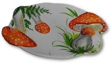 Bassano italienische Relief 2-er SET Keramik Servierplatte Platte Pilze rot NEU