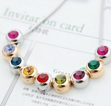 Gold Plated Necklace with Swarovski Element Multicolor Crystal Beads Woman Girl