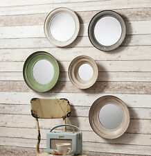 "Crosby Set of 5 Painted Metal Round Wall Mirrors - 10""/12""/13"" Diameters"