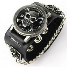 Punk Style Skull Quartz Leather Wrist Watch, BLACK Or WHITE Band with Vintage S