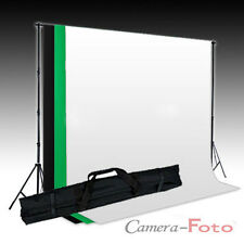 3 Cotton Muslin Backdrop Black Green White + 3 x 2m Background Support Stand Kit