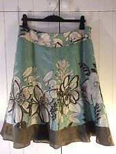 Monsoon Ladies Linen & Silk Lined Floral & Sequinned Skirt Size 16