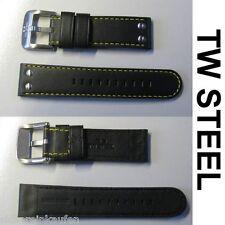 TW Steel TW671 Ersatz-Uhrenarmband Armband schwarz 24 mm Naht gelb NEU #TW671-Ba