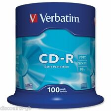 Verbatim 43411 CD-R Extra Protection Recordable CD Discs CDR 700MB 100 pack