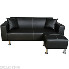 Sofa Loveseat Set Faux Leather Couch Home Office Furniture w/ Ottoman Cushion BK