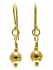 9ct Gold Drop Earrings with Sparkling 7 mm Gold Ball Beads