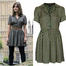 Topshop Cosplay Green Black Silky Piped Tile Print Shirt Dress - Size 12