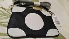 Bnwt Stunning Blue & White Dotted Zip top Large Leather bag purse clutch