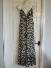 Womens Brown Cream Long Maxi Summer Dress Size 10 Party Ladies Embellished