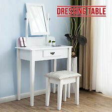 New White Dressing Table Makeup Desk with Stool and Mirror Bedroom Furniture