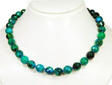 Beautiful Precious stone necklace in Chrysocolla in facetted ball form knotted