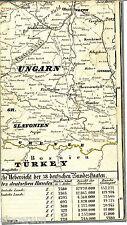 Magyar Budapest Ossijek Hrvatska 1860 kl. Eisenbahn-Teilkarte/Ln. Székesfehérvár