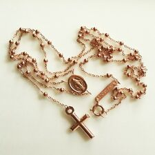 9k 9ct rose Gold rosary beads necklace Miraculous medal and Cross Italy UnoAerre