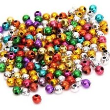 100 Assorted New Smooth Round Ball Plastic Beads 4mm In Size