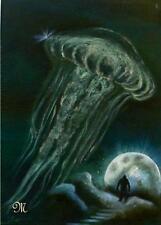 Quallenzauber  Original Gemälde 50- 70 mit fluo. Schwarzlichtpulver