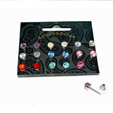 9 pairs 6mm Assorted Colour Crystal Diamante Ear Studs Earring Set.