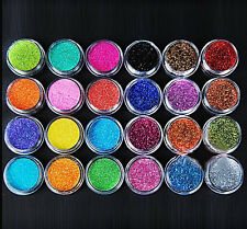 24 COLOUR GLITTER DUST POTS POWDER NAIL ART DECORATION FINE ACRYLIC UV TIPS