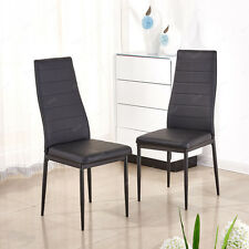 2 x Black Modern Stylish Faux Leather Padded Dining Chairs Metal Legs Seat