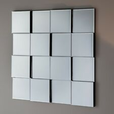 """Allenby Modern Contemporary Angled Blocks Square Overmantle Wall Mirror 27""""x27"""""""
