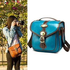 Small Mens Womens Vintage PU Leather DSLR Canon Nikon Sony Camera Shoulder Bag