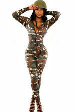 Women Sexy Camouflage Jumpsuit Army Soldier Costume Catsuit Romper M - 8 - 10