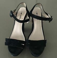 Pre-owned I LOVE BILLY Black Suede Open Toe Ankle Strap Heels Size 40 (9)