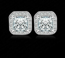 9K  WHITE GOLD FILLED STUD EARRINGS WITH 1 CARAT SWAROVSKI CRYSTALS
