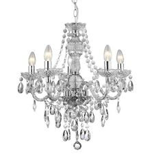 Chandelier Ceiling Light 5 Bulb Home Lighting Chrome Therese Glass Droplet Chain