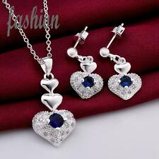 Schmuckset Ohrringe + Halskette mit Anhänger, Silberüberzogen. Herz mit Kristall
