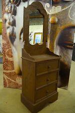 Schrank Indien Bali Handmade Holz Braun Kommode mit Spiegel Elefant 131 cm