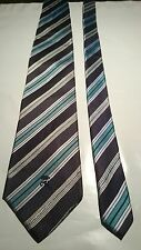 Countess Mara Men's Vintage Silk Tie in Navy White Silver and Aqua Marine Stripe