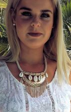 Cowrie Shell Choker Necklace White&Gold Adjustable Chain Original Surf Jewellery