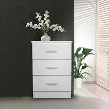 Redfern Bedside Table/Chest - White,3 drawers,Metal Handle&Runners,Free Delivery