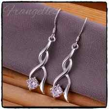 925 Sterling Silver Twisted Dangle Drop CZ Cubic Zirconia Crystal Hook Earrings