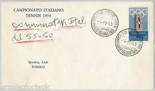 ITALY  - POSTAL HISTORY: SPECIAL postmark on COVER 1959 - TENNIS CHAMPIONSHIP