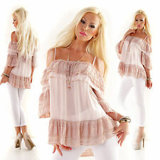 5PEOPLE!S ITALY Tunika Spitze Bluse EDEL BABYDOLL in Pastell Rosa Shirt 36 38 40