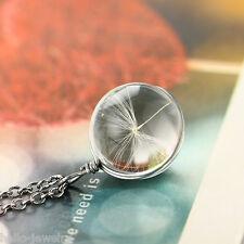 1 Halskette Halsschmuck Löwenzahn Anhänger Rund Glas Versilbert Geschenk 60cm